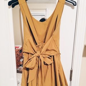 Low Back Mustard Short Dress